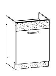 Attēls  Virtuves izlietnes skapītis MODENA MD18/D60Z (Bordo-Jasmin)