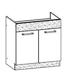 Attēls  Virtuves izlietnes skapītis MODENA MD19/D80Z (Bordo-Jasmin)