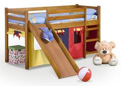 Attēls  Koka gulta NEO PLUS ar slidkalniņu (2 krāsas)