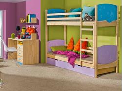 Attēls  Divstāvu koka gulta TRIO II (12 krāsas)